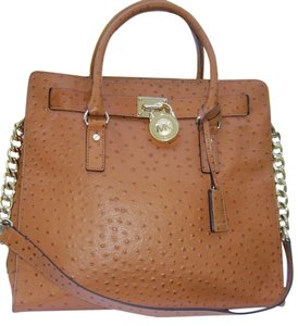 1d84a7f6119b Michael Kors Ostrich Embossed Leather Lock And Key Gold Hardware Tote in  Brown. Michael Kors Hamilton Large Luggage Ostrich New with Tags ...