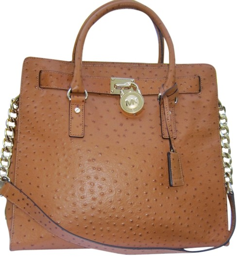 50856fe66793 Michael Kors Ostrich Embossed Leather Lock And Key Gold Hardware Tote in  Brown Image 0 ...