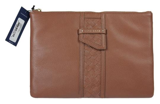 Cole Haan Leather Large Pouch Brown Clutch