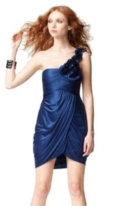 BCBGMAXAZRIA Satin Royal Floral Drape Dress