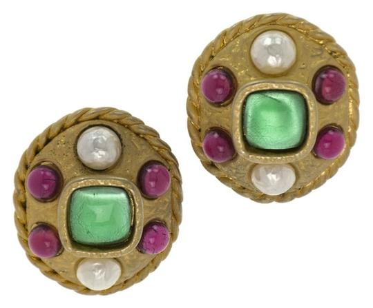 Chanel Chanel Vintage Gripoix Rare Statement Round Earrings