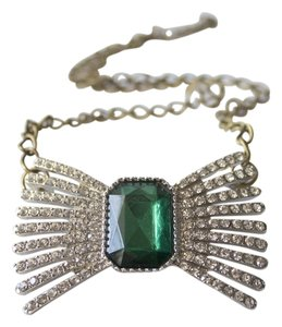 Crystal Bow Emerald Chain Necklace Crystal Bow Emerald Chain Necklace