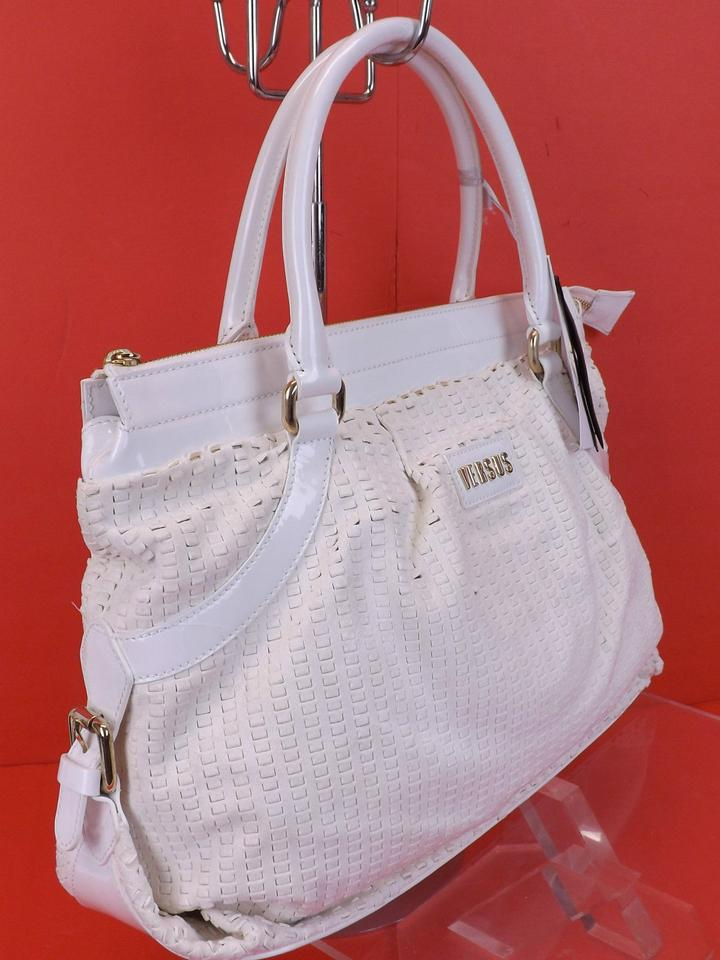 Versus Versace Vanilla Patent Logo Zip Top Handles Handbag Italy White  Suede Leather Shoulder Bag - Tradesy 3322e99b84f12