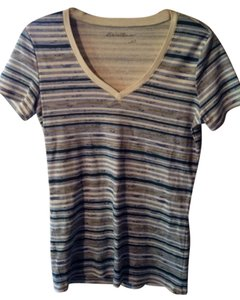 Eddie Bauer T-shirt V Neck Striped Cotton T Shirt Blue/ white