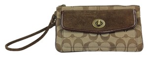 Coach Canvas Suede Brass Hardware Wristlet in Brown