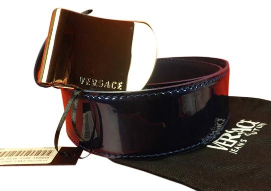 Versace NAVY BLUE RUNWAY PATENT LEATHER SILVER TONE LOGO BUCKLE BELT 95 38