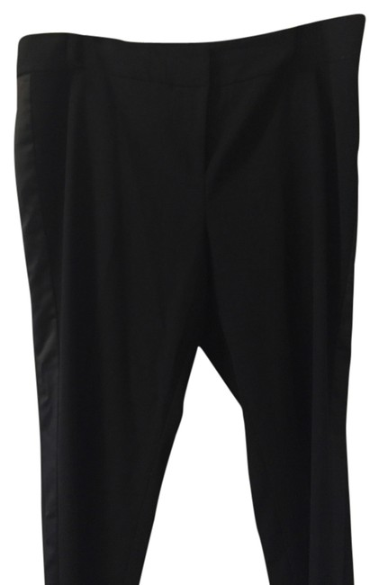 Vince Camuto Straight Pants Black with black satin tuxedo stripe