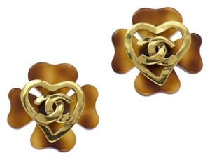 Chanel CHANEL VINTAGE TORTOISE HEART EARRINGS