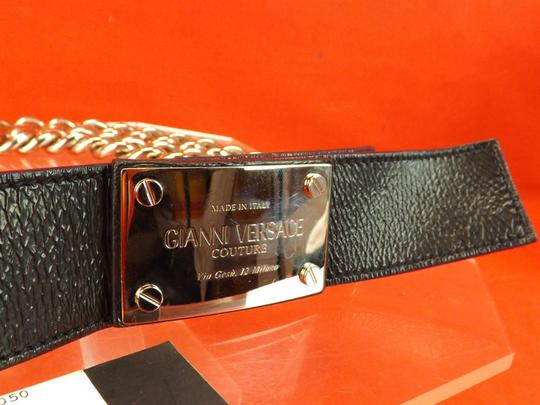 Versace BLACK LEATHER 2 CHAINS SILVER TONE BUCKLE BELT 80 32