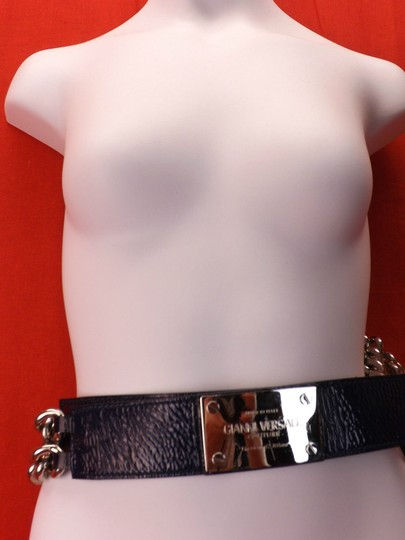 Versace BLUE LEATHER 2 CHAINS SILVER TONE BUCKLE BELT 85 34