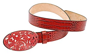 Etro ETRO Red Embossed Leather Belt w/Carved Oval Resin Buckle-Sz 95/US34