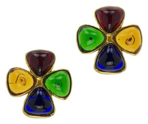 Chanel CHANEL VINTAGE GRIPOIX CLOVER EARRINGS