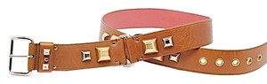 Prada PRADA Brown Leather Belt w/Gold+Silver Dome-shaped Studs + Grommets - Sz 95/US38