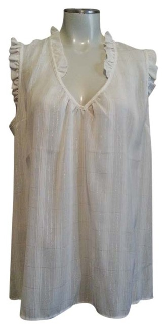 Preload https://item5.tradesy.com/images/new-york-and-company-whitemetallic-blouse-size-12-l-3747139-0-0.jpg?width=400&height=650