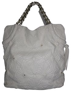Chanel Ca D'oro Embroidered Etched Carved Tote in White