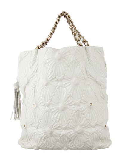 Chanel Embroidered Etched Carved Ca D'oro Venice Tote in White