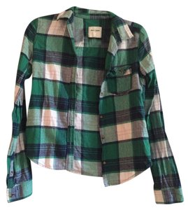 abercrombie kids Flannel Button Down Shirt Green Plaid