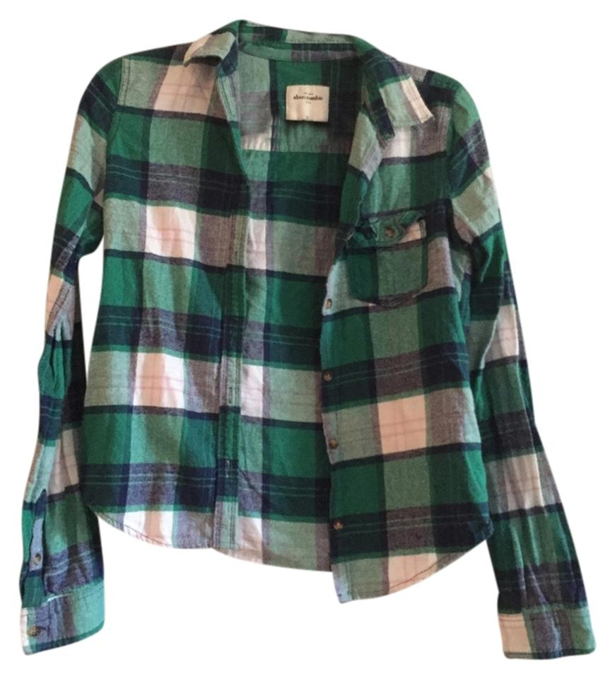 abercrombie kids green plaid flannel shirt button down top