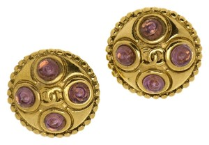 Chanel CHANEL VINTAGE GRIPOIX BUTTON EARRINGS