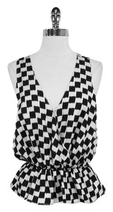 Joie Check Print Silk Top Black & White