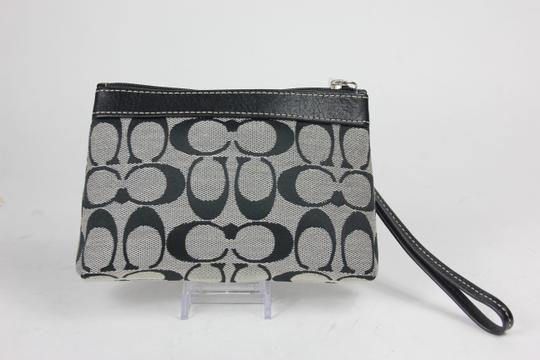 Coach Canvas Leather Silver Hardware Wristlet in Black/White
