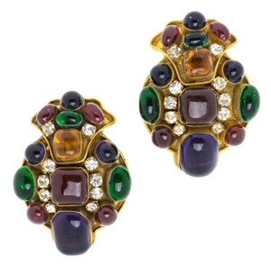 Chanel CHANEL POURED GLASS VINTAGE GRIPOIX EARRINGS