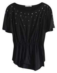 Sans Souci Studs Comfortable Cute Trendy Top Black