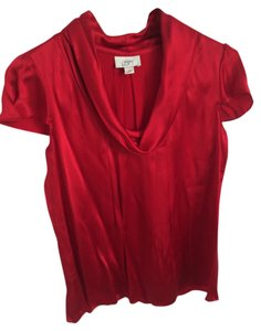 Ann Taylor LOFT Silk Small 100% Silk Top Red