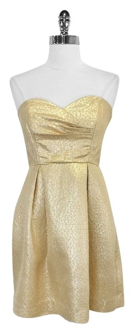 Shoshanna Metallic Silk Strapless Dress