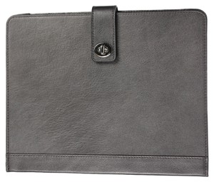 Coach * Coach Campbell Turn Lock iPad Case F66788 - Silver/Hematite Brown