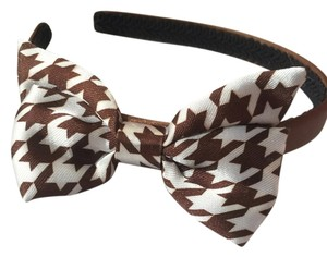 Brown And White Houndstooth Bow Headband