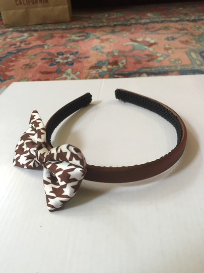 Other Brown And White Houndstooth Bow Headband