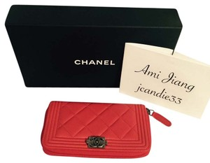 Chanel Chanel Boy Short Wallet In Orange Red