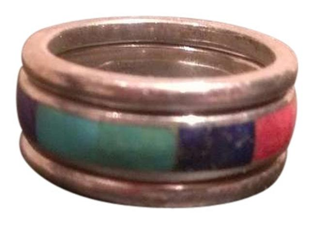Item - Silvr W/Multi Color Stones Stacked Ring