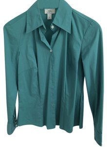 Ann Taylor LOFT Long Sleeve Stretch Button Down Shirt Seafoam