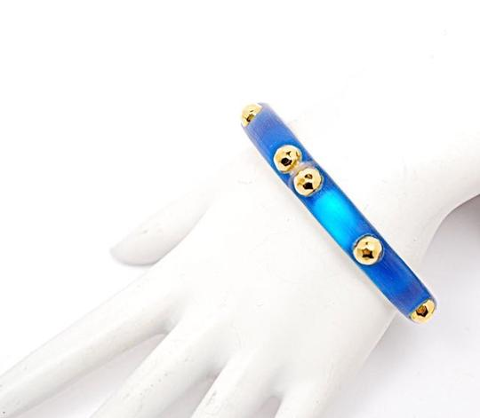 Alexis Bittar ALEXIS BITTAR NWOT Blue LUCITE HINGED BRACELET w/Gold Studs