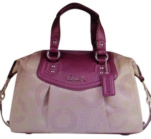 Coach Satchel in Khaki/Purple/Berry