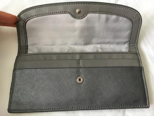 Coach COACH Saffiano Leather Darcy Soft Wallet Slim Silver Pewter 50428
