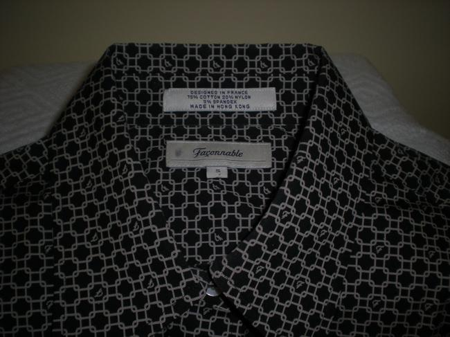 Faonnable Top Black w/gray geometric