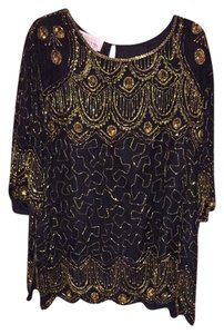Silhouettes Top Black And Gold