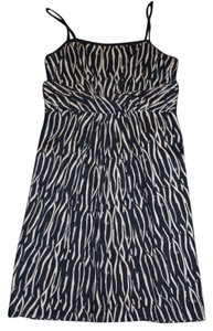Ann Taylor LOFT short dress Navy Blue and White Adjustable Straps Patterned on Tradesy