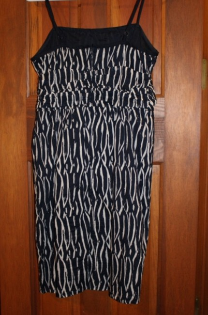 Ann Taylor LOFT short dress Navy Blue and White Adjustable Straps Patterned Summer on Tradesy