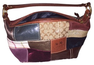 Coach Mixed Fabric Velvet Leather blue, brown, gold, purple, white Clutch