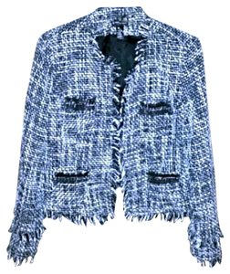INC International Concepts Chanel Boucle Cropped Black and White Tweed Jacket