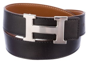 Hermès Black leather Herms Reversible Constance Belt