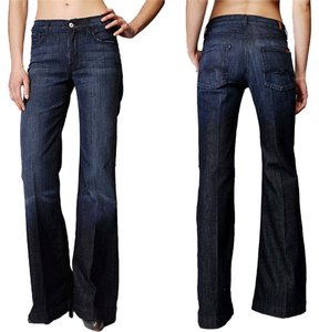 7 For All Mankind Lightweight Trouser/Wide Leg Jeans-Dark Rinse