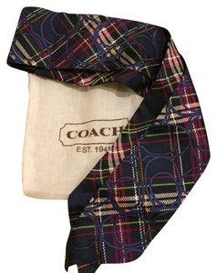 Coach Plaid Navy Coach Scarf