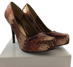 JustFab Bronze Sequins Bling Bronze-Multi Pumps