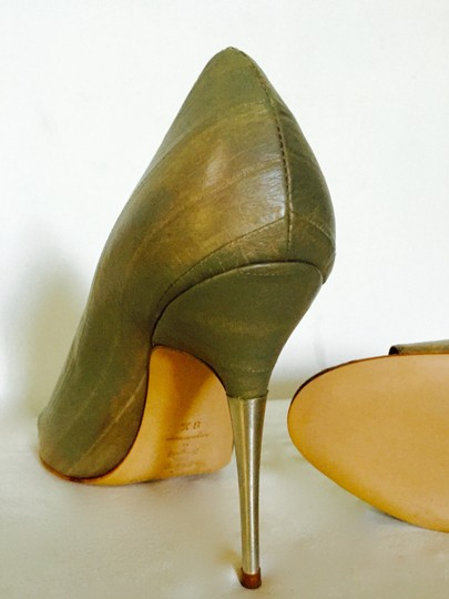 Sigerson Morrison Leather Eel Classy Sexy Stiletto olive green Pumps
