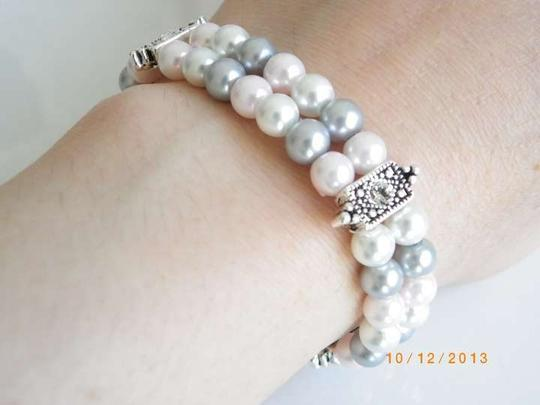Other white pink grey crystal pearl bracelet